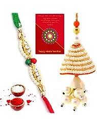 TRADITION INDIA Colorful Stylish Design Beautiful Lovable Bhaiya Bhabhi Mauli Thread And Beads Rakhi Set Of 2... - B01J8X5XVA