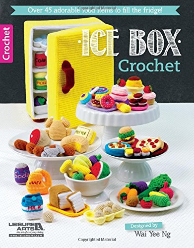 Ice Box Crochet - 45 food items and a refrigerator! Create a tiny, vintage refrigerator and fill it with lots of faux food like eggs, milk, juice, soda, fruits and veggies, bread, pizza, a burger, sushi, meat, cheese, fish, turkey, sweets, donuts, cake, cookies, and more. The perfect way to use up scrap yarn. Fun and imaginative play for kids or just for fun.