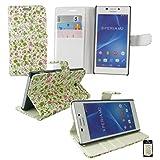 Emartbuy® Sony Xperia M4 Aqua / Xperia M4 Dual Aqua Desktop Stand Wallet Case Cover Pouch Floral Print With Credit...