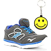 Elligator 1429 Grey & Blue Sports Shoes With Stylish Smiley Key Chain For Men Combo (Set Of 2)