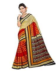 Lookslady Printed Orange Bhagalpuri Silk Saree
