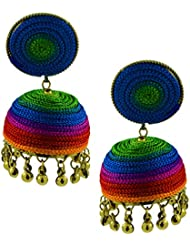The Jewelbox Handmade Thread Multi Colours Antique Gold Plated Jhumki Earring For Women