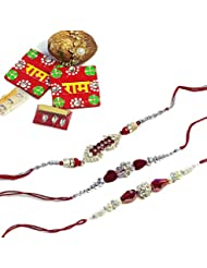 Cultural Concepts Silver And Red Rakhi Combo - Set Of 3