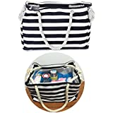 Compact Canvas Mommy Tote Bag For Going Out, Turn Your Favorite Hangbag Into A Trendy Baby Diaper Bag, With Insert...