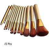 Makeup Cosmetic Brush Set 12 Pcs Travel Size With Metallic Case