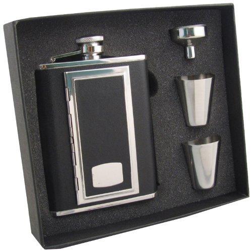 """Visol """"SP Black"""" Leather Cigarette Case Flask Gift Set, 6-Ounce, Black"""