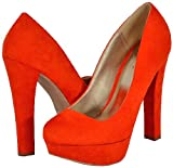 Qupid Marc-01 Orange Faux Suede Women Platform Pumps