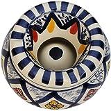 4 Inch Ceramic Smoking Smoke Ashtray - SouvNear Moroccan Round Ash Tray - Hand-Painted Ceramic Ash Tray With 3...
