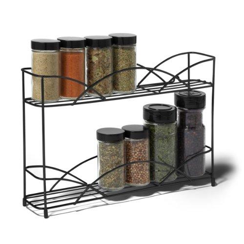 Kitchen Wall Mounted Shelves: Spice Rack Organizer 2 Tier Kitchen Bottles Jars