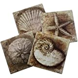 Nautical Ocean Beach Coaster Set Of 4 | Assorted Seaside Ceramic Coaster With Cork Backing | Starfish Seashell...