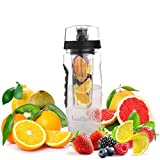 Ivation Infuser Water Bottle With Locking Flip - Top Lid-BPA-Free Plastic & Eco-Friendly - Large 32-Oz Capacity