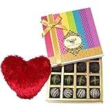 Valentine Chocholik's Belgium Chocolates - Ultimate Dark Truffle Collection With Heart Pillow