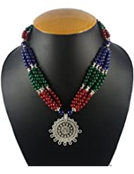 Aradhya Designer High Quality German Silver And Multi-Colour Stone Beads Necklace For Women And Girls