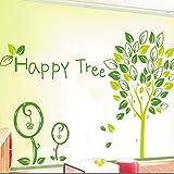 Green Happy Tree Vector Art Wall Decal