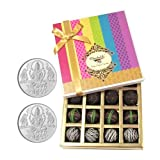 Chocholik Belgium Chocolates - Dark Flavour Truffle Collection Gift Box With 5gm X 2 Pure Silver Coins - Gifts...