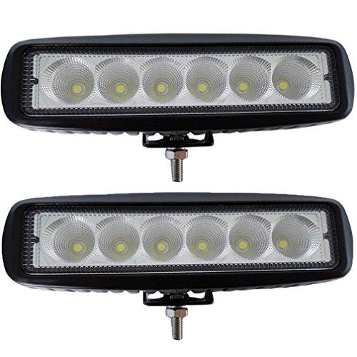 autvivid 2pcs 18w Flood LED Work Light Bar 60 Degree Off Road Driving Waterproof for Jeep Cabin/boat/suv/truck/car/atvs/fishing/deck