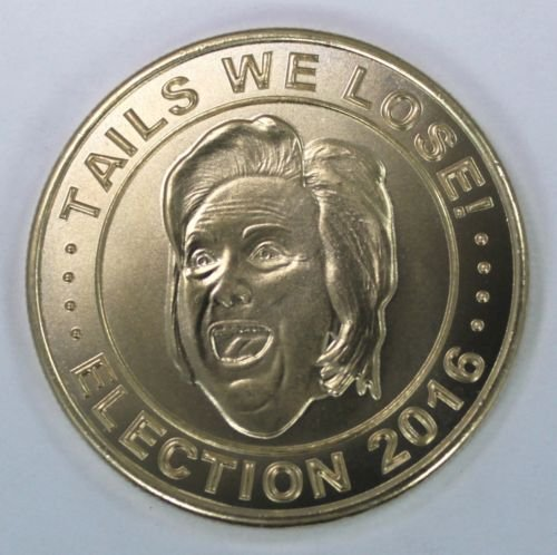 Trump and Clinton Halloween Costumes - Choose Edgy or Funny - 2016 Donald Trump Hillary Clinton Presidential Election Brass FLIP Coin
