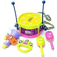 Viment Childrens Kidi Beats Kids Drum Set (Joy Drum, 2 Sand Hammer, Rattle, Horn) (Multi Color Random Delivery)