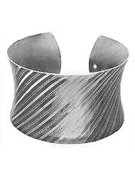 DollsofIndia White Carved Metal Cuff Bracelet - Metal - White - B00VNWQWYC