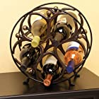 Metal Circle Man Wine Bottle Holder Table Top Rack holds 5