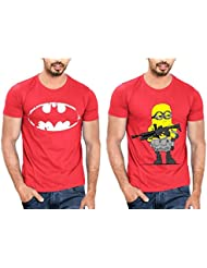 T Shirt For Men & Boys Graphic Round Neck Half Sleeve Combo Of 2_Slim Fit_100% Cotton_Casual T Shirt_graphic Printed_T-Shirts... - B01M5FLO4N