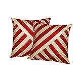 Xarans Diagonal Stripe Beige N Red Cushion Cover Set Of 2 (16x16 Inches)