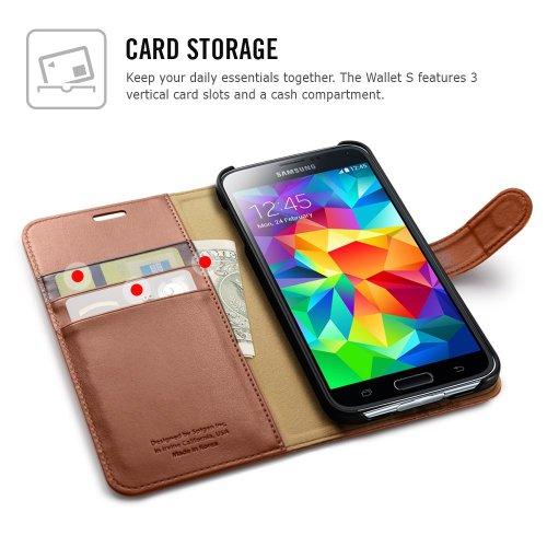 **スタンド機能** Spigen®  Samsung【 Galaxy S5 ケース 】ウォレット S レザー ケース  Galaxy SV Galaxy S V (国内正規品) (ブラック 【 SGP10818】)