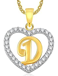 DC Gold Plated Alphabet 'D' Letter Heart Pendant Locket With Chain For Men And Women/Boys & Girls