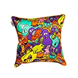 The Crazy Me Mr Doodle Monster Colourful Pattern Cushion Cover(16 By 16 Inch)