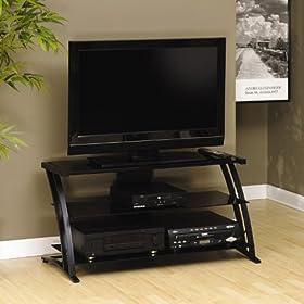 Deco Widescreen Glass TV Stand Black Glass/Black Finish