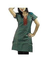 Fashion Freaks Green Cotton Printed Sqaure Neck Kurti