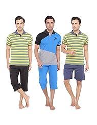 Men's Casual Top, Shorts, Pyjama & Capri Set Combo By Valentine