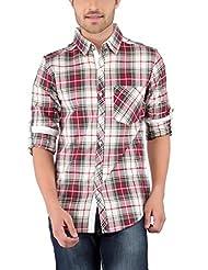 Nick&Jess Mens Red & Cream Checkered Contrast Casual Shirt