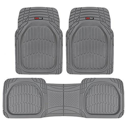 Motor Trend FlexTough Contour Liners – Heavy Duty Deep Dish Rubber Floor Mats in Gray