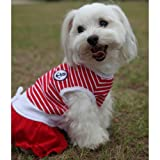 Happy Puppy Designer Dog Apparel - Striped Red Sailor Dress - Color: Red, Size: XS