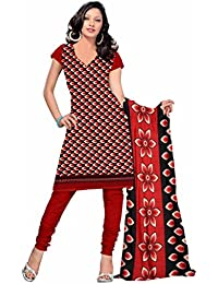 Sonal Trendz Red Color Leon Printed Art Silk Dress Material.Party Wear Festive Wear.