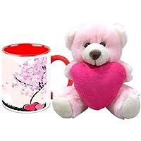 Valentine Gift HomeSoGood 14 Shades Of Love White Ceramic Coffee Mug With Teddy - 325 Ml