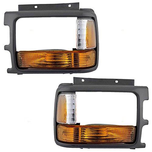 Driver and Passenger Signal Side Marker Lights & Headlamp Bezels Replacement for Dodge Pickup Truck 83506613 83506612