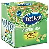 Tetley Green Tea, Ginger Mint Lemon, 10 Tea Bags