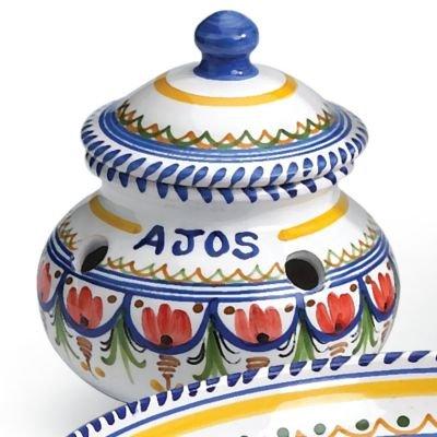 El Puente del Arzobispo Hand Painted Ceramic Garlic Storage Jar