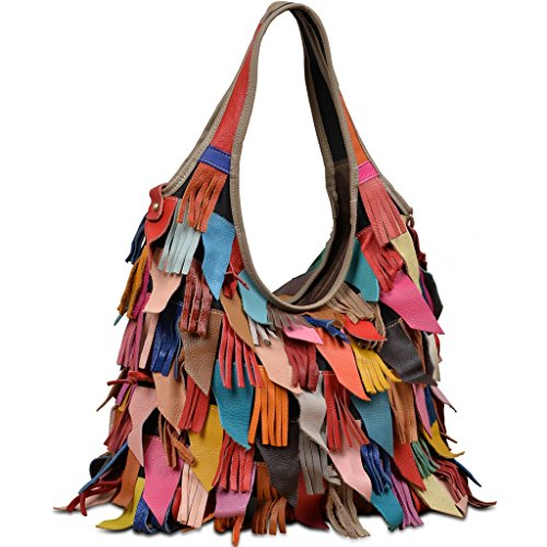 YALUXE Froulju Soft Lambskin Leather Multicolor Tote Crossbody Shoulder Bag Tassel Fringe