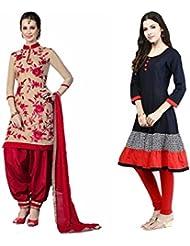 Sky Global Women's Regular Wear Dress Material And Kurti (Combo Pack Of 2)(SKY_DK_9027)(SKY_552_Red-Cream)(SKY...