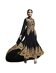Black Heavy Embroidered Georgette Designer Party Wear Suit Semi Stitched