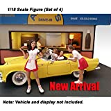 American Diorama Figure: Set of 4, Couples with 2 Carhop Waitress at Drive-in Diner 1:18 Scale