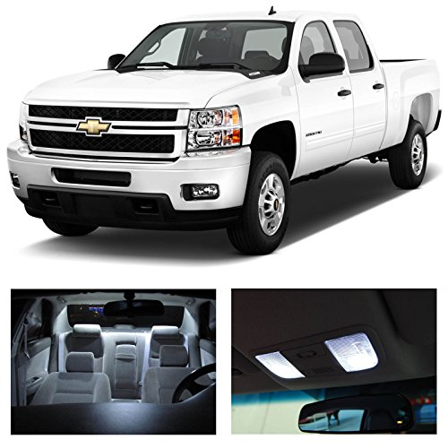 LEDpartsNow Chevy SILVERADO 2007-2013 Xenon White Premium LED Interior Lights Package Kit (12 Pieces) + Install Pry Tool