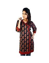 Jaipur RagaDesigner Red-Black Indian Pure Cotton Kurti Red-Black Cotton Kurti