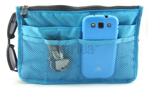 Periea - Organiseur de sac à main, 12 Compartiments - Chelsy (Bleu brillant, Grand: H20 x L33.5 x P2-26cm)
