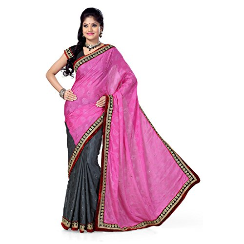 Firstloot Pink And Grey Satin Jaquard And Satin Embroidered Saree