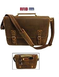 """Viosi RFID 16"""" Genuine Leather Shoulder Messenger Computer Laptop Bag Briefcase"""
