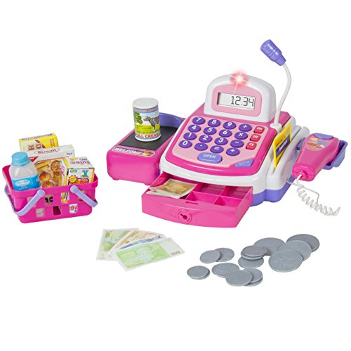 Pretend Play Electronic Cash Register with Realistic Actions & Sounds, Pink